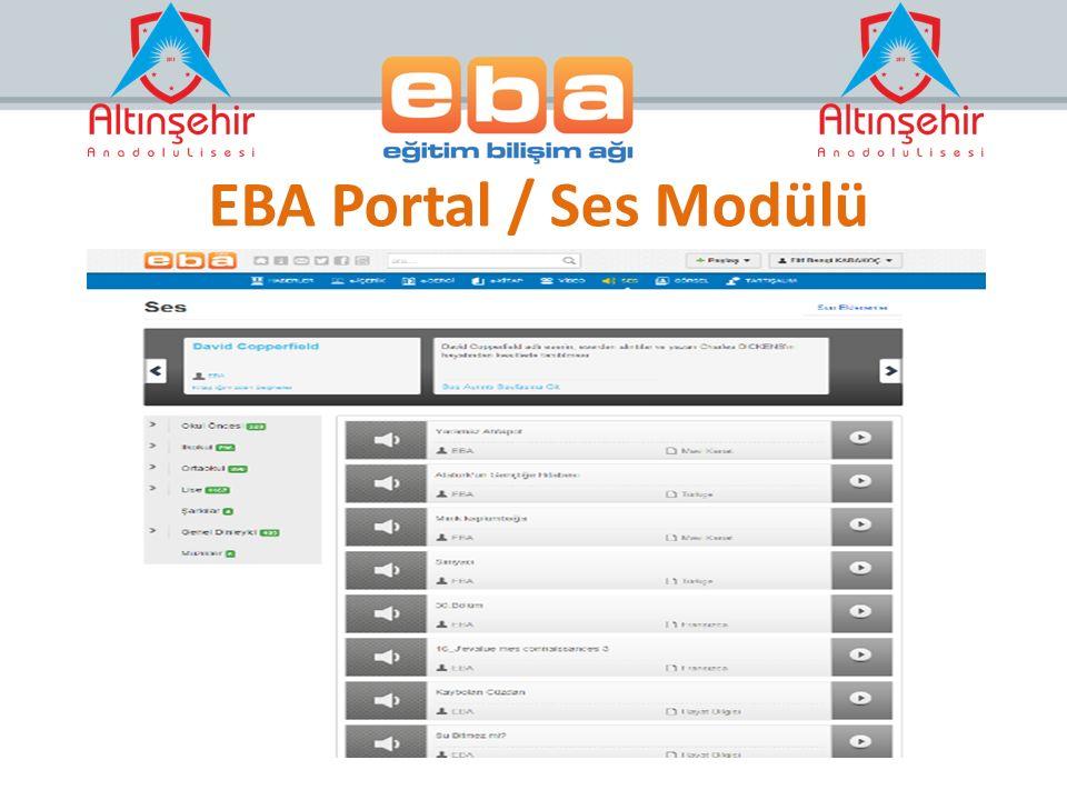 EBA Portal / Ses Modülü