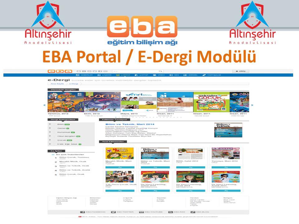 EBA Portal / E-Dergi Modülü