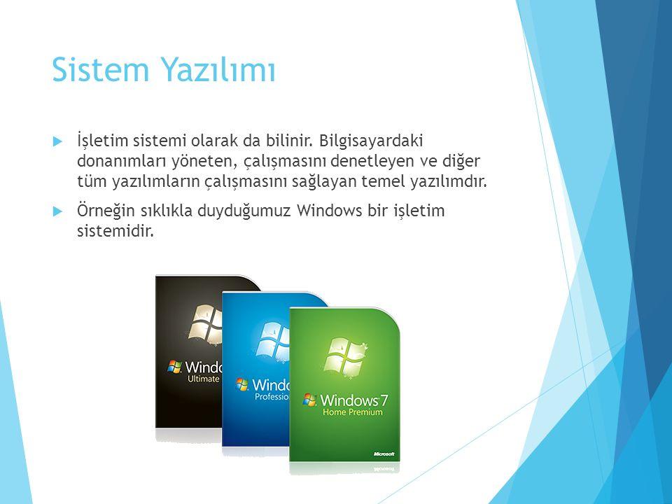 Sistem Yazılımı  İşletim sistemi olarak da bilinir. Bilgisayardaki donanımları yöneten, çalışmasını denetleyen ve diğer tüm yazılımların çalışmasını