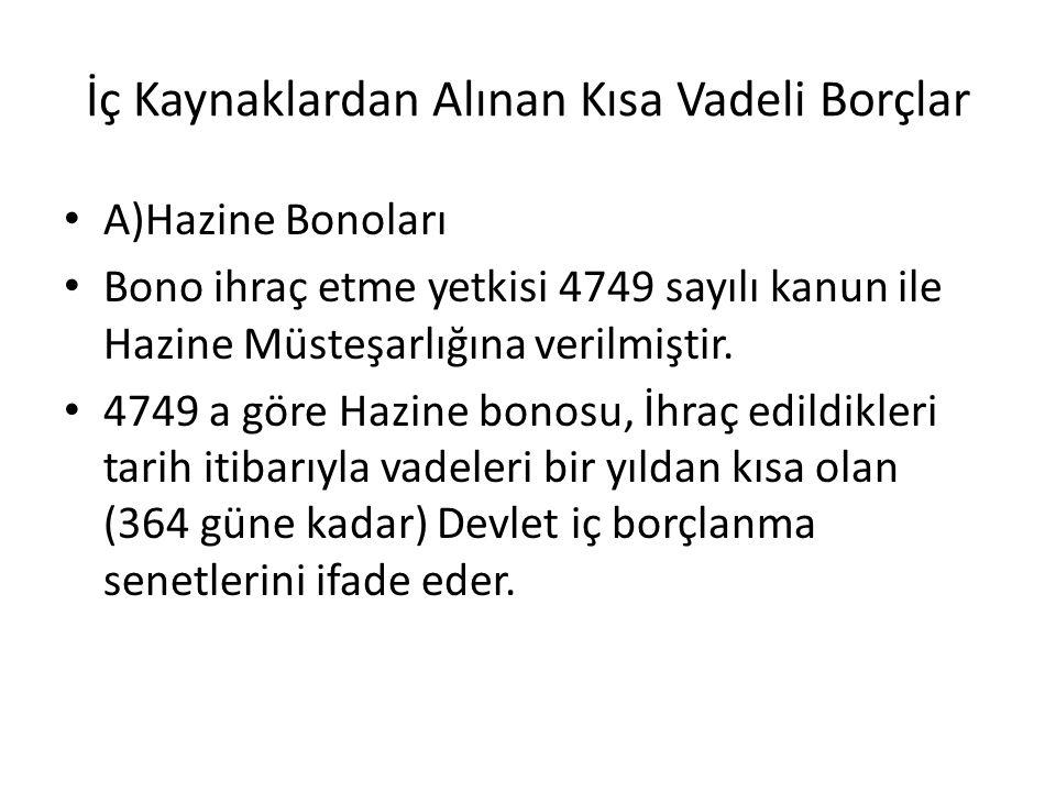 İç Kaynaklardan Alınan Kısa Vadeli Borçlar A)Hazine Bonoları Bono ihraç etme yetkisi 4749 sayılı kanun ile Hazine Müsteşarlığına verilmiştir.
