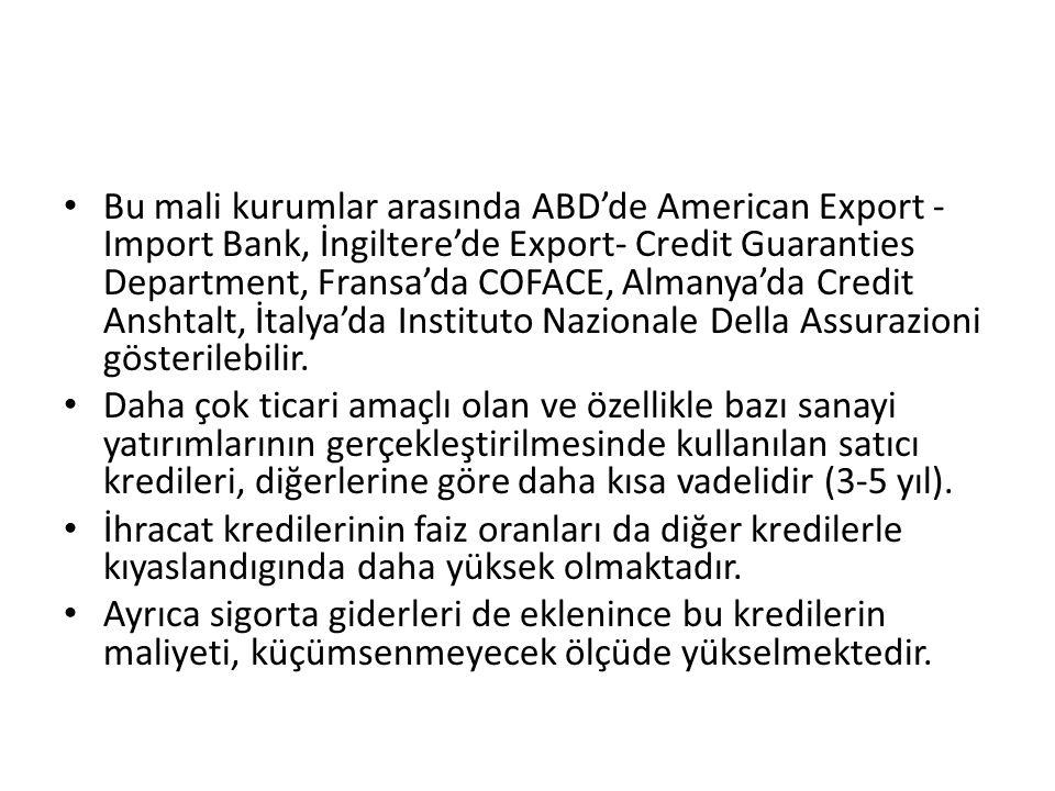 Bu mali kurumlar arasında ABD'de American Export - Import Bank, İngiltere'de Export- Credit Guaranties Department, Fransa'da COFACE, Almanya'da Credit Anshtalt, İtalya'da Instituto Nazionale Della Assurazioni gösterilebilir.