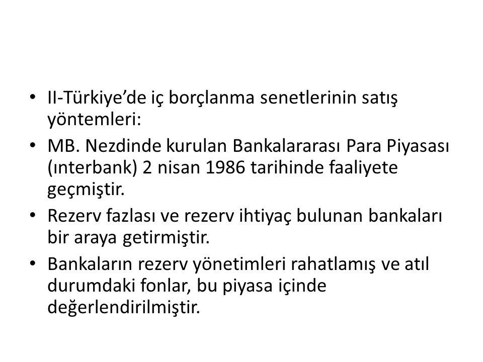 II-Türkiye'de iç borçlanma senetlerinin satış yöntemleri: MB.