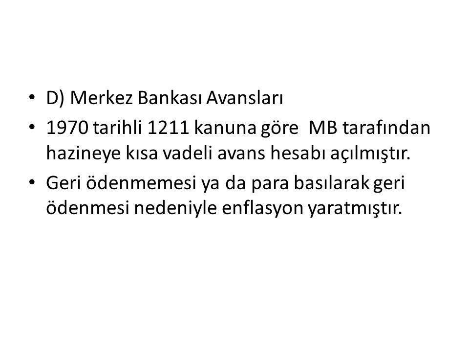 D) Merkez Bankası Avansları 1970 tarihli 1211 kanuna göre MB tarafından hazineye kısa vadeli avans hesabı açılmıştır.