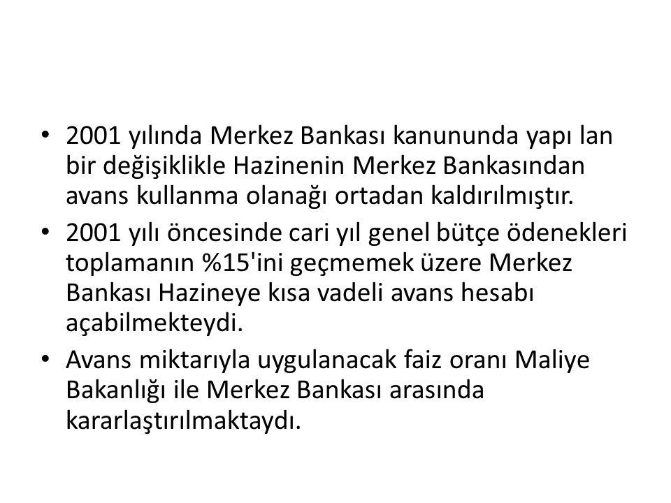 2001 yılında Merkez Bankası kanununda yapı lan bir değişiklikle Hazinenin Merkez Bankasından avans kullanma olanağı ortadan kaldırılmıştır.