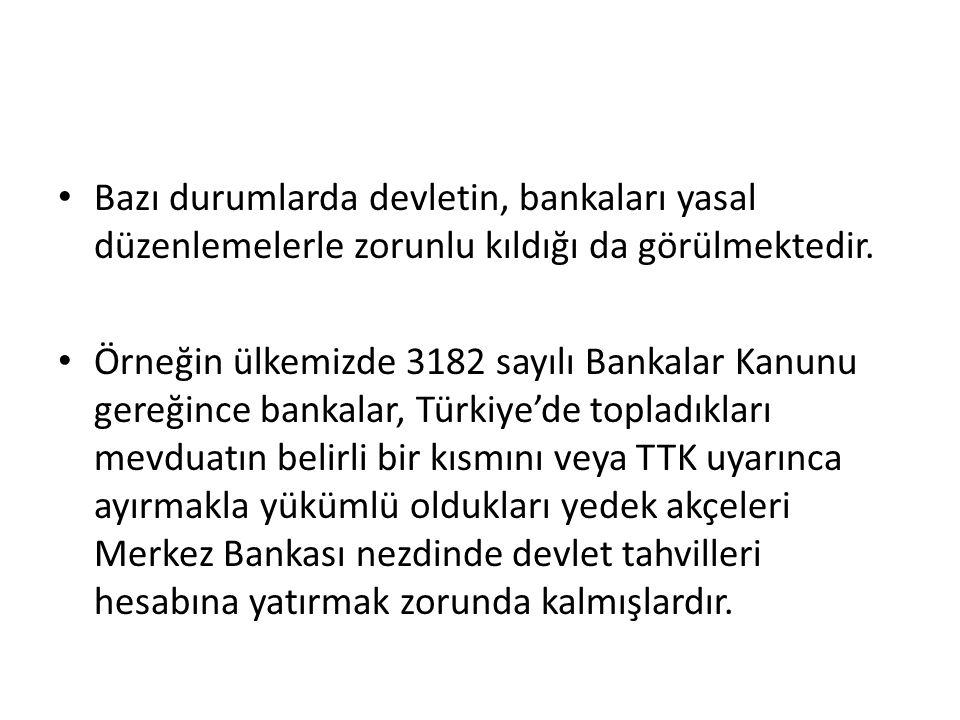 Bazı durumlarda devletin, bankaları yasal düzenlemelerle zorunlu kıldığı da görülmektedir.