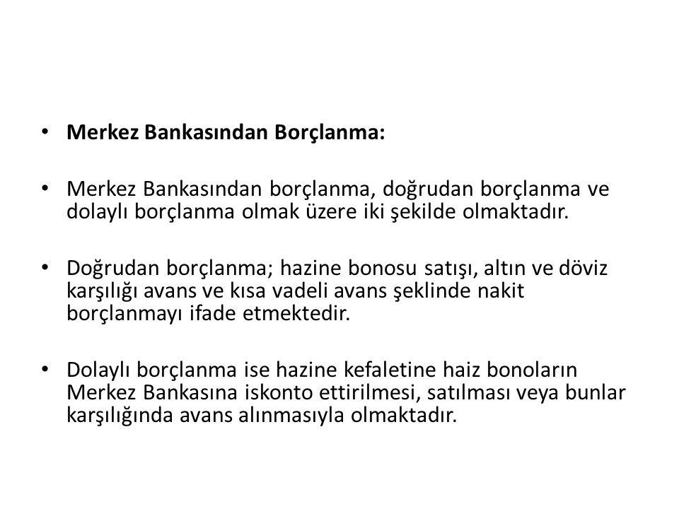Merkez Bankasından Borçlanma: Merkez Bankasından borçlanma, doğrudan borçlanma ve dolaylı borçlanma olmak üzere iki şekilde olmaktadır.