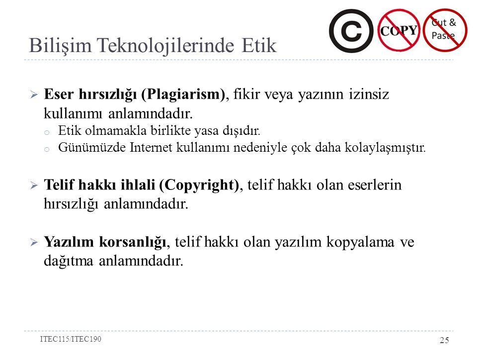 Bilişim Teknolojilerinde Etik  Eser hırsızlığı (Plagiarism), fikir veya yazının izinsiz kullanımı anlamındadır.