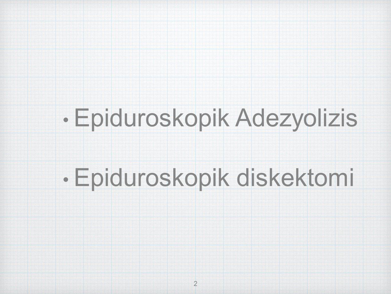 2 Epiduroskopik Adezyolizis Epiduroskopik diskektomi