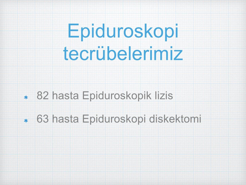82 hasta Epiduroskopik lizis 63 hasta Epiduroskopi diskektomi Epiduroskopi tecrübelerimiz