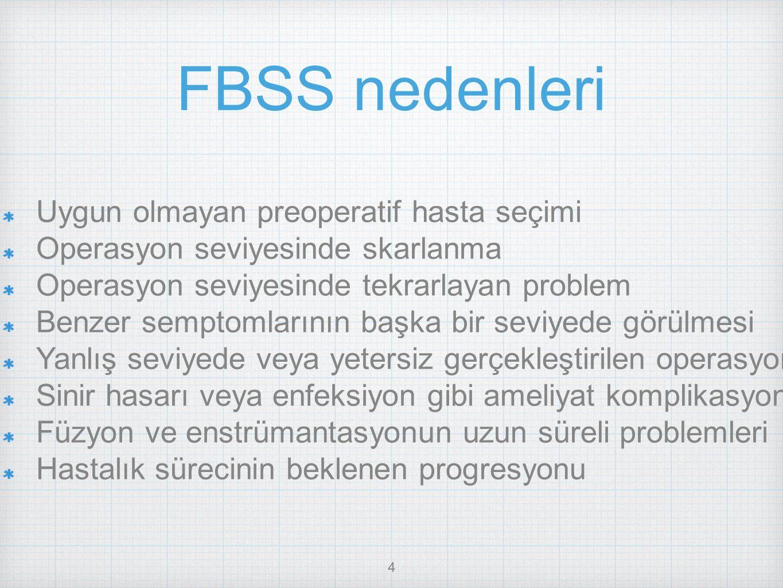 4 FBSS nedenleri Uygun olmayan preoperatif hasta seçimi Operasyon seviyesinde skarlanma Operasyon seviyesinde tekrarlayan problem Benzer semptomlarını