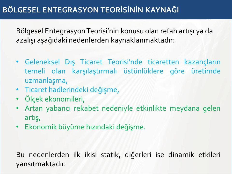 BÖLGESEL ENTEGRASYON TEORİSİNİN KAYNAĞI Bölgesel Entegrasyon Teorisi'nin konusu olan refah artışı ya da azalışı aşağıdaki nedenlerden kaynaklanmaktadı