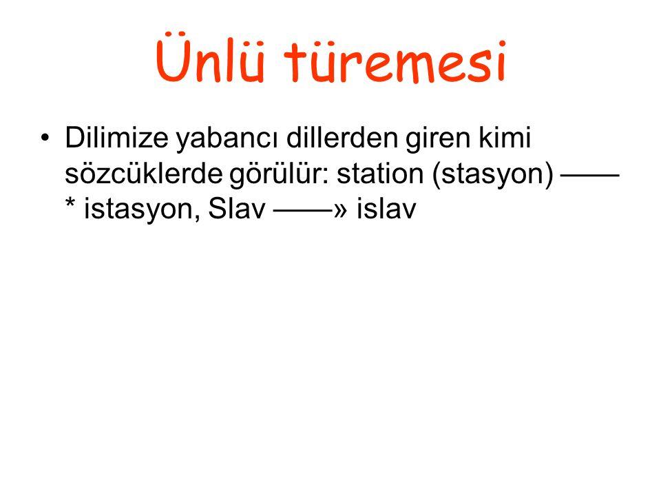 Ünlü türemesi Dilimize yabancı dillerden giren kimi sözcüklerde görülür: station (stasyon) —— * istasyon, Slav ——» islav