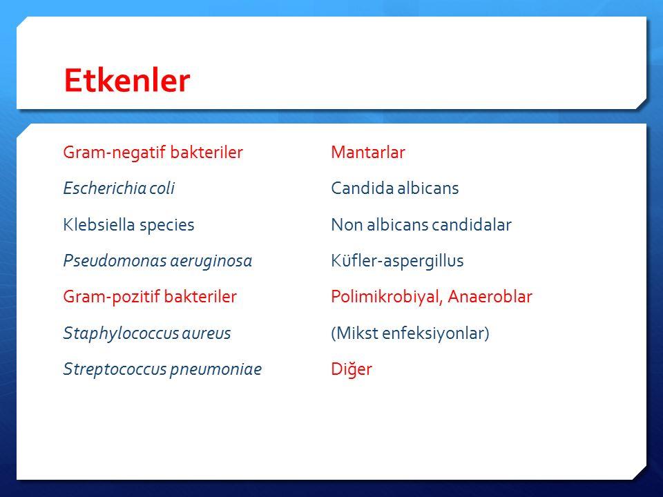Ampirik antimikrobiyal tedavi  Gram-pozitif ve Gram-negatif bakterileri kapsamalı  Hedef dokuya veya vücut sıvılarına terapotik düzeyde geçebilmeli  Lokal ve üniteye özgü antibiyotik direnci göz önüne alınmalı  Mikroorganizmanın tahmin edilmesinde yardımcı faktörler Enfeksiyon odağının yeri Hastanın altta yatan hastalıkları (madde bağımlılığı, diyaliz vb..) potansiyel mikroorganizmayı tahmin ettirebilir Yakın zamanda ve uzun süreli hastaneye yatış öyküsü İnvaziv girişimler Yakın zamanda antibiyotik kullanmış olmak Önceki kolonizasyonun bilinmesi (MDR-GNB, MRSA,VRE)