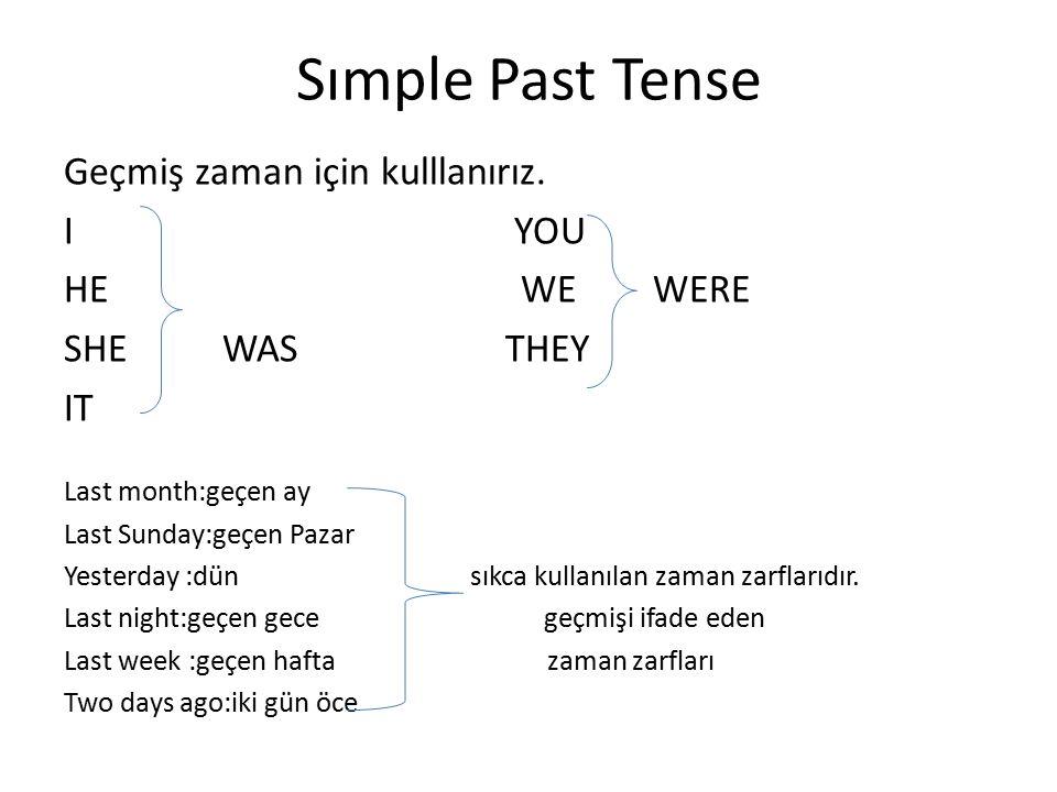 Sımple Past Tense Geçmiş zaman için kulllanırız.