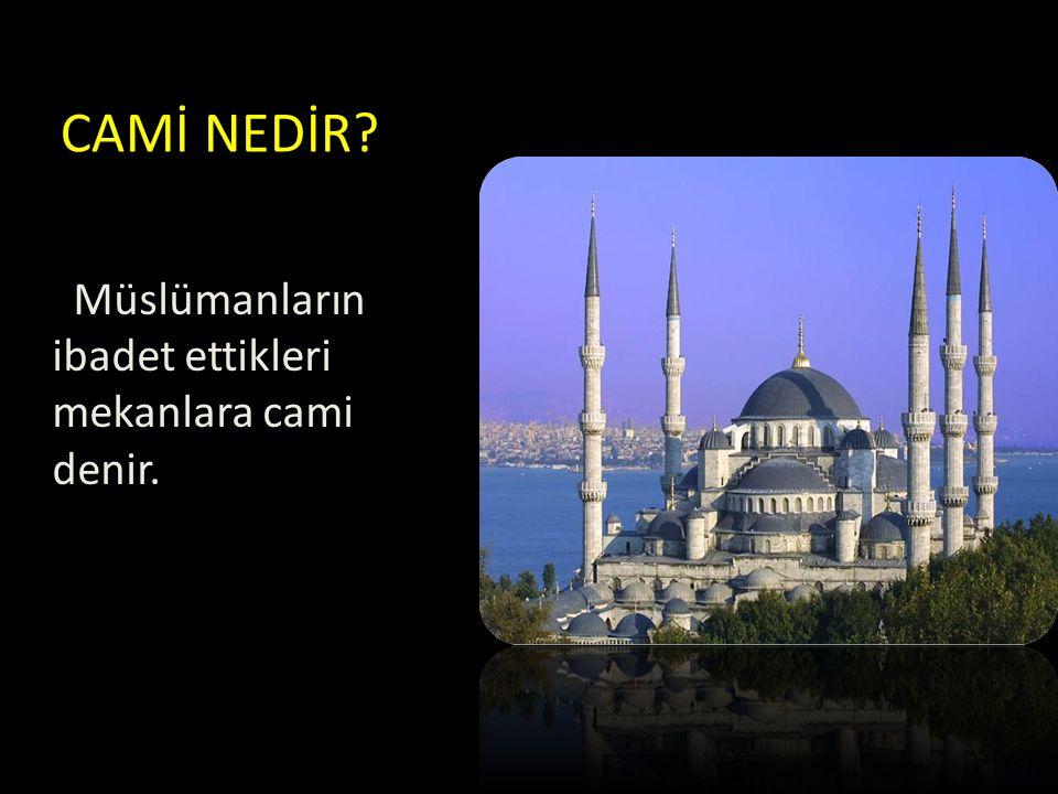 CAMİ NEDİR? Müslümanların ibadet ettikleri mekanlara cami denir.