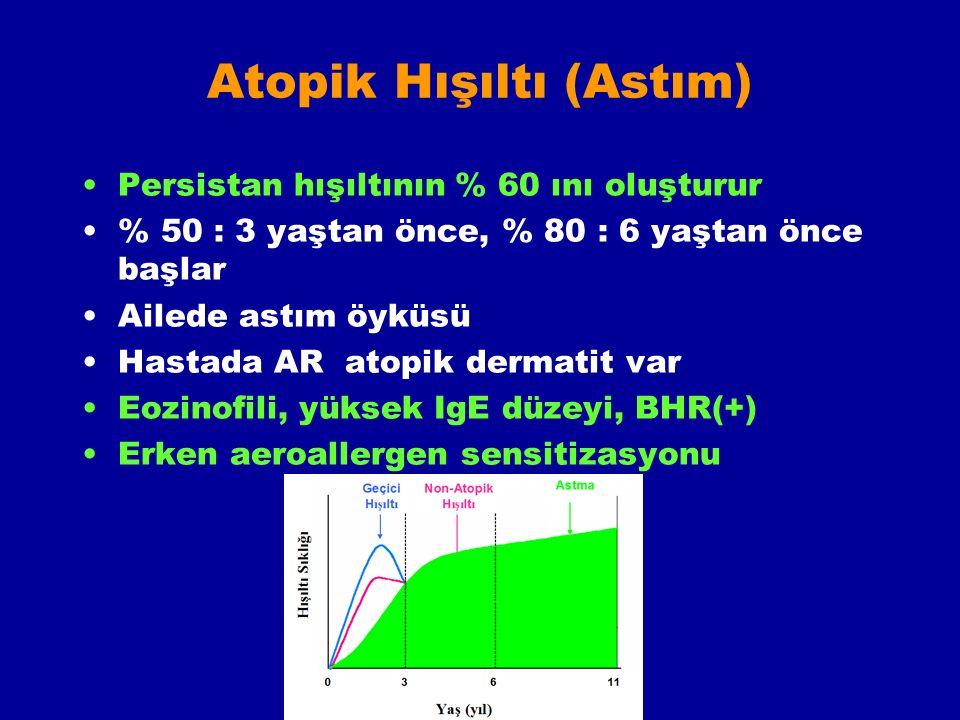 Atopik Hışıltı (Astım) Persistan hışıltının % 60 ını oluşturur % 50 : 3 yaştan önce, % 80 : 6 yaştan önce başlar Ailede astım öyküsü Hastada AR atopik dermatit var Eozinofili, yüksek IgE düzeyi, BHR(+) Erken aeroallergen sensitizasyonu
