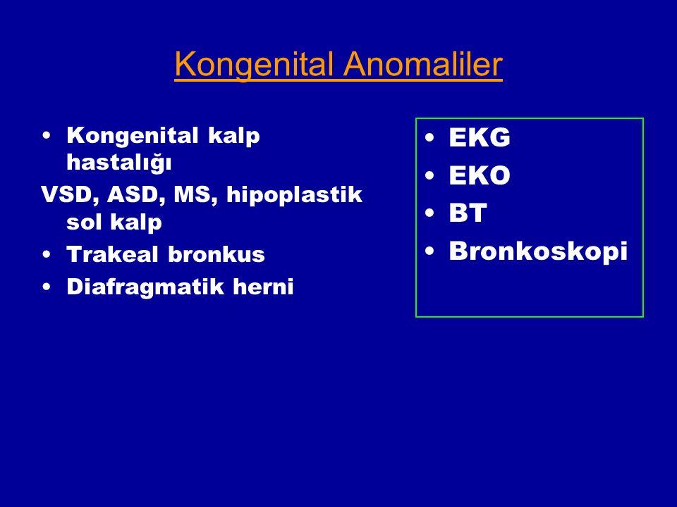 Kongenital Anomaliler Kongenital kalp hastalığı VSD, ASD, MS, hipoplastik sol kalp Trakeal bronkus Diafragmatik herni EKG EKO BT Bronkoskopi