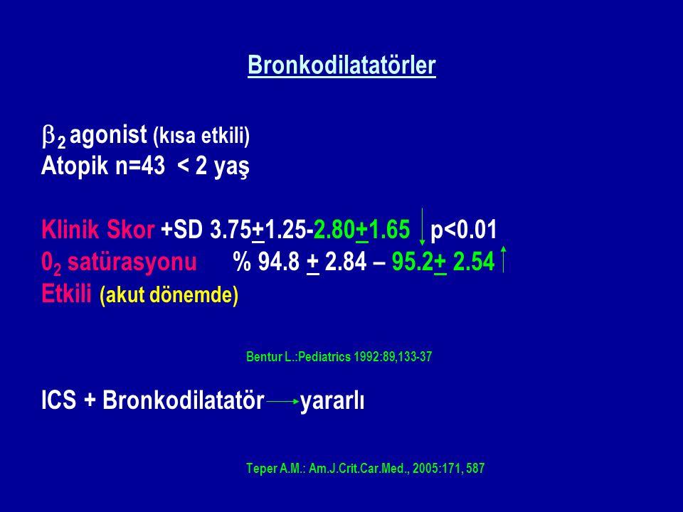 Bronkodilatatörler  2 agonist (kısa etkili) Atopik n=43 < 2 yaş Klinik Skor +SD 3.75+1.25-2.80+1.65 p<0.01 0 2 satürasyonu % 94.8 + 2.84 – 95.2+ 2.54 Etkili (akut dönemde) Bentur L.:Pediatrics 1992:89,133-37 ICS + Bronkodilatatör yararlı Teper A.M.: Am.J.Crit.Car.Med., 2005:171, 587