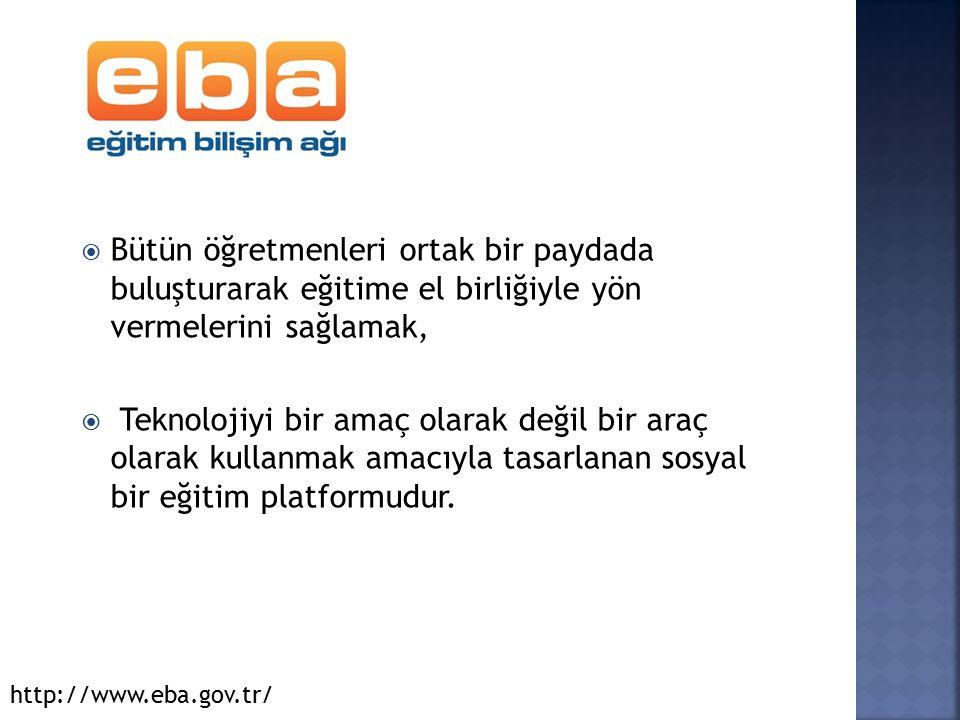  EBA, içinde bir dolu dünya barındırır. Bunlar; http://www.eba.gov.tr/