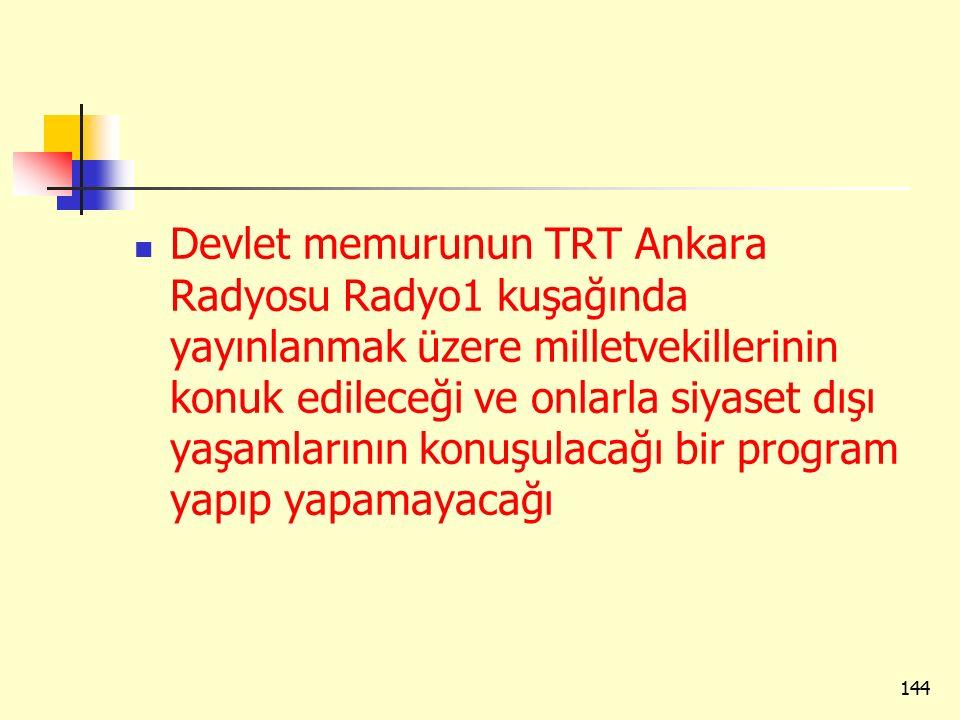 Devlet memurunun TRT Ankara Radyosu Radyo1 kuşağında yayınlanmak üzere milletvekillerinin konuk edileceği ve onlarla siyaset dışı yaşamlarının konuşul