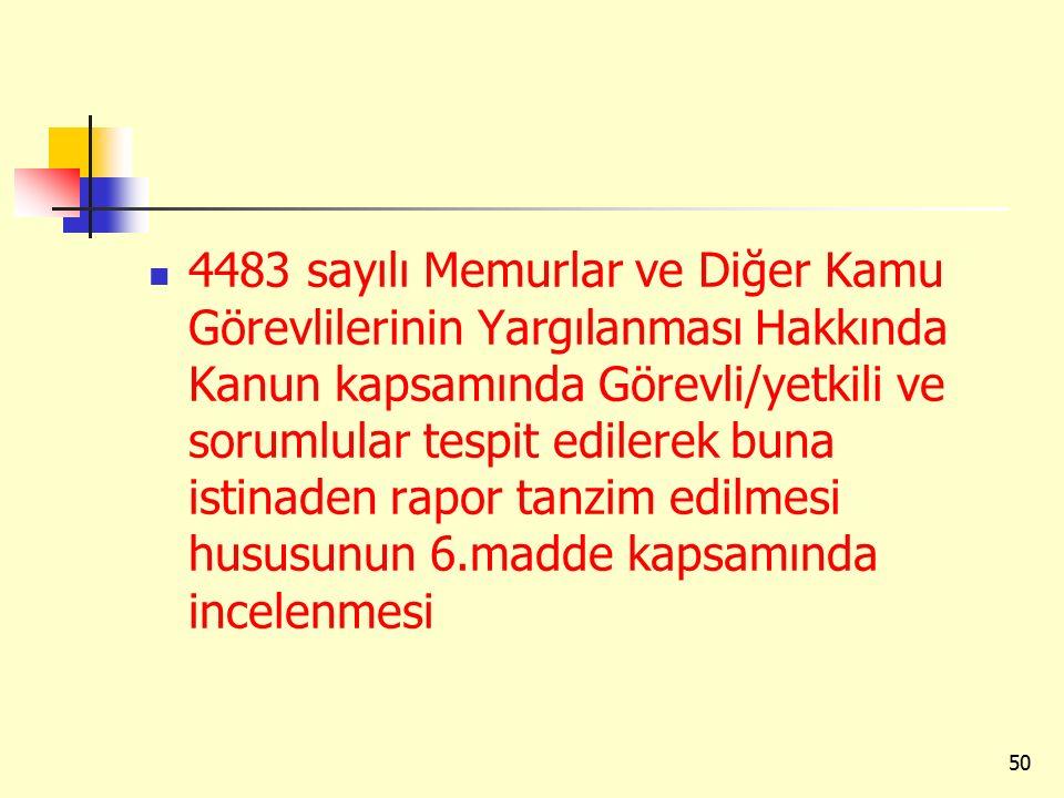 4483 sayılı Memurlar ve Diğer Kamu Görevlilerinin Yargılanması Hakkında Kanun kapsamında Görevli/yetkili ve sorumlular tespit edilerek buna istinaden