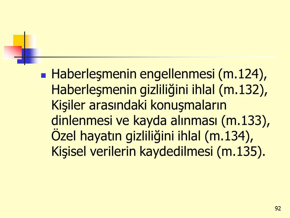 Haberleşmenin engellenmesi (m.124), Haberleşmenin gizliliğini ihlal (m.132), Kişiler arasındaki konuşmaların dinlenmesi ve kayda alınması (m.133), Öze