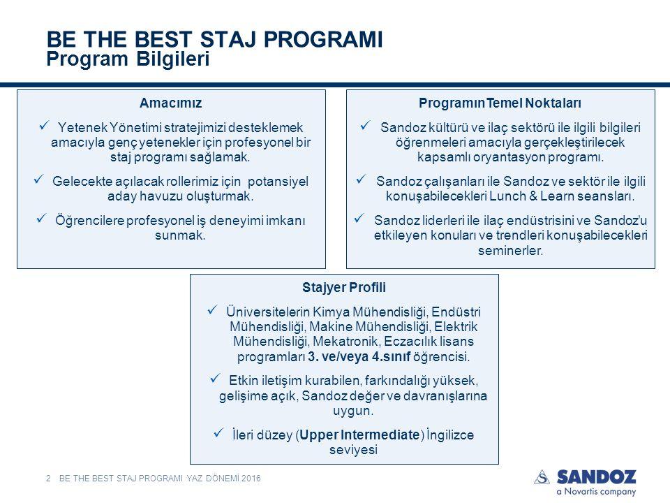 BE THE BEST STAJ PROGRAMI Program Bilgileri BE THE BEST STAJ PROGRAMI YAZ DÖNEMİ 20162 Amacımız Yetenek Yönetimi stratejimizi desteklemek amacıyla genç yetenekler için profesyonel bir staj programı sağlamak.