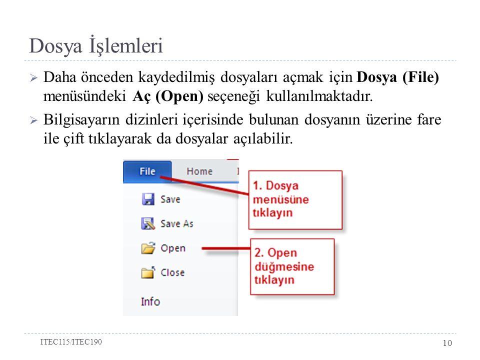  Daha önceden kaydedilmiş dosyaları açmak için Dosya (File) menüsündeki Aç (Open) seçeneği kullanılmaktadır.