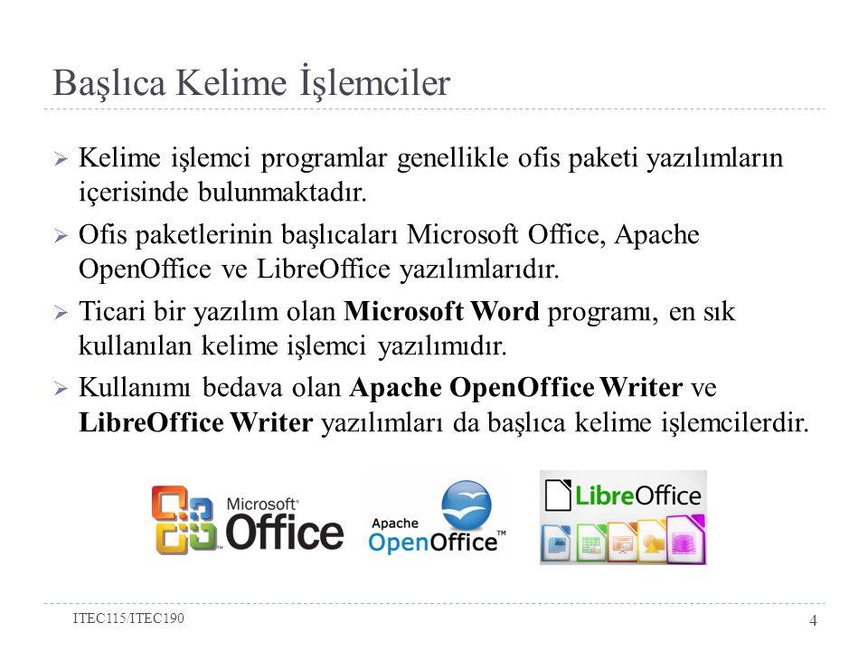 Başlıca Kelime İşlemciler  Kelime işlemci programlar genellikle ofis paketi yazılımların içerisinde bulunmaktadır.