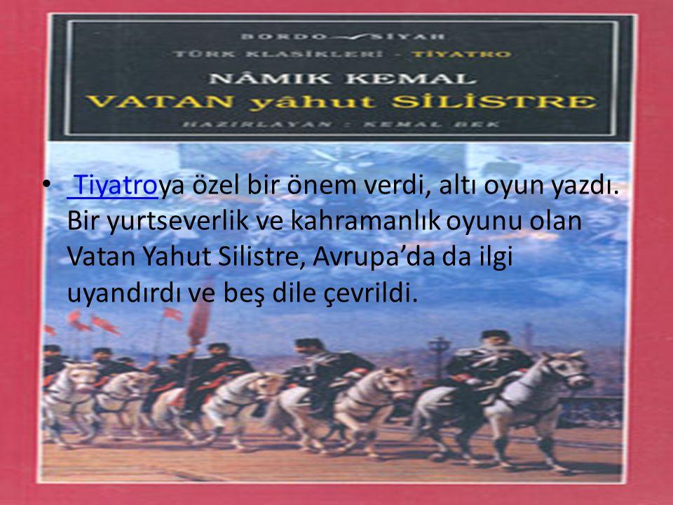 Tiyatroya özel bir önem verdi, altı oyun yazdı. Bir yurtseverlik ve kahramanlık oyunu olan Vatan Yahut Silistre, Avrupa'da da ilgi uyandırdı ve beş di