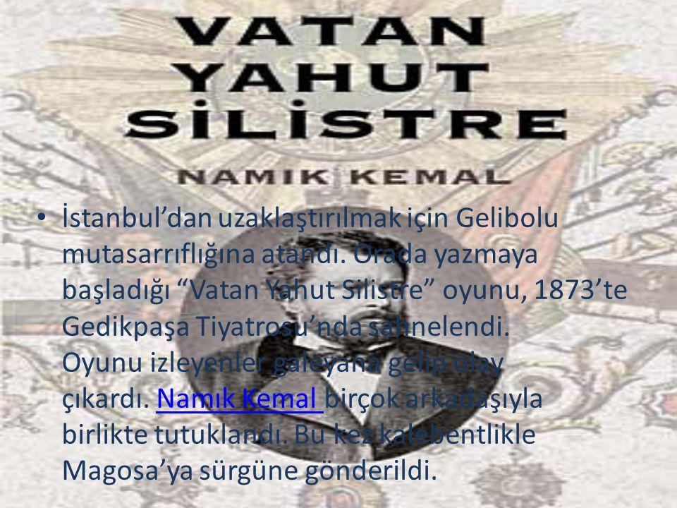 """İstanbul'dan uzaklaştırılmak için Gelibolu mutasarrıflığına atandı. Orada yazmaya başladığı """"Vatan Yahut Silistre"""" oyunu, 1873'te Gedikpaşa Tiyatrosu'"""