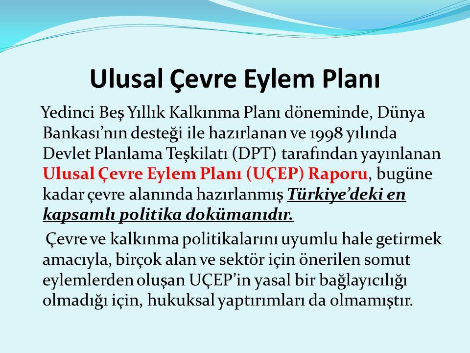 Ulusal Çevre Eylem Planı Yedinci Beş Yıllık Kalkınma Planı döneminde, Dünya Bankası'nın desteği ile hazırlanan ve 1998 yılında Devlet Planlama Teşkilatı (DPT) tarafından yayınlanan Ulusal Çevre Eylem Planı (UÇEP) Raporu, bugüne kadar çevre alanında hazırlanmış Türkiye'deki en kapsamlı politika dokümanıdır.