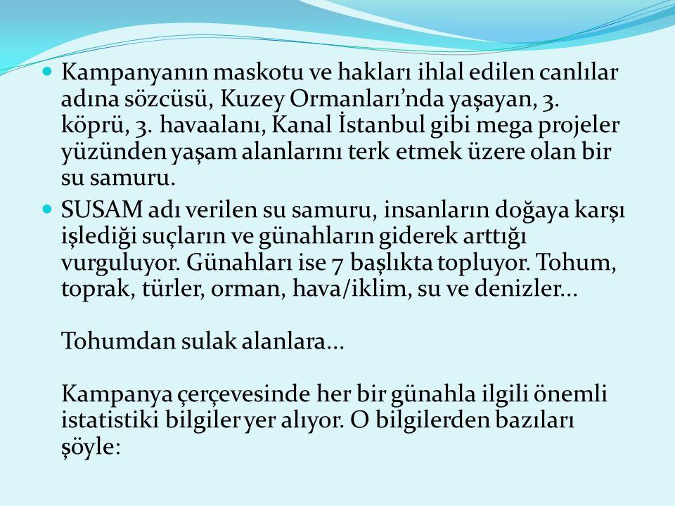 Kampanyanın maskotu ve hakları ihlal edilen canlılar adına sözcüsü, Kuzey Ormanları'nda yaşayan, 3.