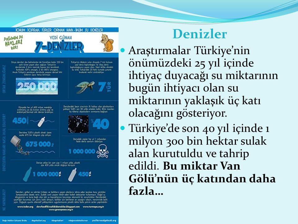 Denizler Araştırmalar Türkiye'nin önümüzdeki 25 yıl içinde ihtiyaç duyacağı su miktarının bugün ihtiyacı olan su miktarının yaklaşık üç katı olacağını gösteriyor.