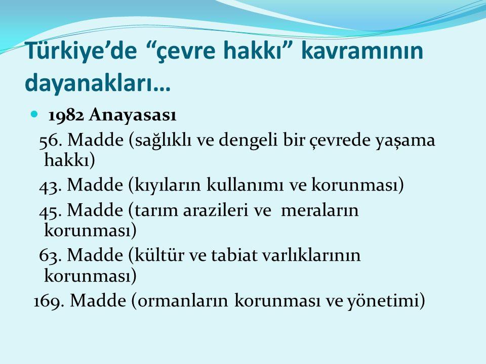 Türkiye'de çevre hakkı kavramının dayanakları… 1982 Anayasası 56.