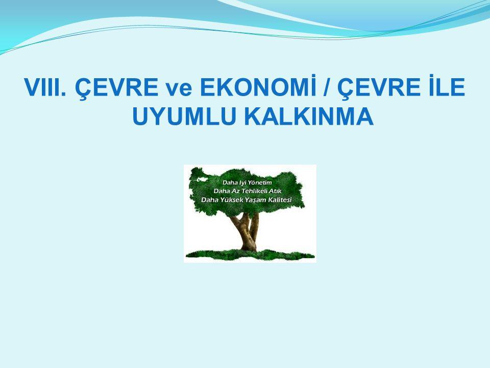 VIII. ÇEVRE ve EKONOMİ / ÇEVRE İLE UYUMLU KALKINMA