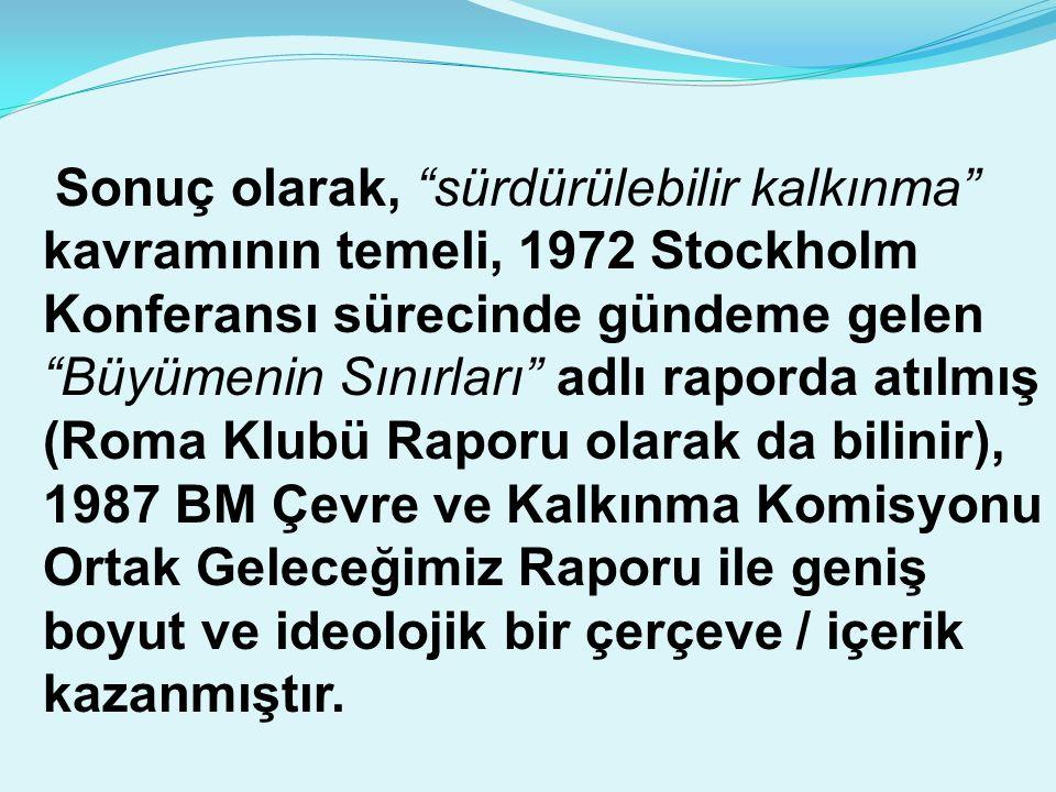 Sonuç olarak, sürdürülebilir kalkınma kavramının temeli, 1972 Stockholm Konferansı sürecinde gündeme gelen Büyümenin Sınırları adlı raporda atılmış (Roma Klubü Raporu olarak da bilinir), 1987 BM Çevre ve Kalkınma Komisyonu Ortak Geleceğimiz Raporu ile geniş boyut ve ideolojik bir çerçeve / içerik kazanmıştır.