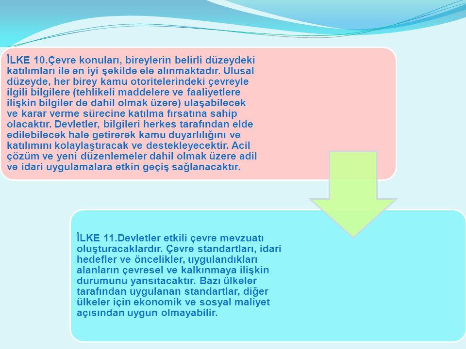 İLKE 10.Çevre konuları, bireylerin belirli düzeydeki katılımları ile en iyi şekilde ele alınmaktadır.