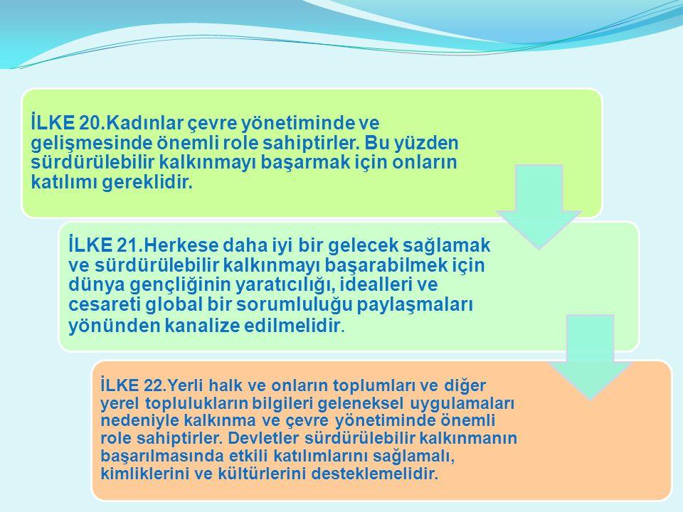 İLKE 20.Kadınlar çevre yönetiminde ve gelişmesinde önemli role sahiptirler.