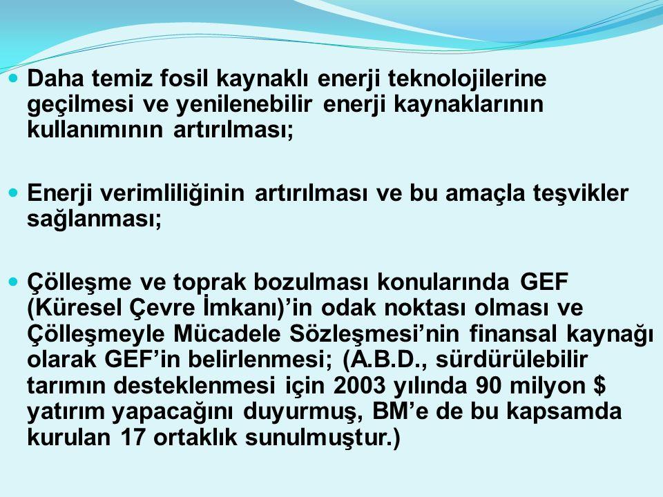 Daha temiz fosil kaynaklı enerji teknolojilerine geçilmesi ve yenilenebilir enerji kaynaklarının kullanımının artırılması; Enerji verimliliğinin artırılması ve bu amaçla teşvikler sağlanması; Çölleşme ve toprak bozulması konularında GEF (Küresel Çevre İmkanı)'in odak noktası olması ve Çölleşmeyle Mücadele Sözleşmesi'nin finansal kaynağı olarak GEF'in belirlenmesi; (A.B.D., sürdürülebilir tarımın desteklenmesi için 2003 yılında 90 milyon $ yatırım yapacağını duyurmuş, BM'e de bu kapsamda kurulan 17 ortaklık sunulmuştur.)