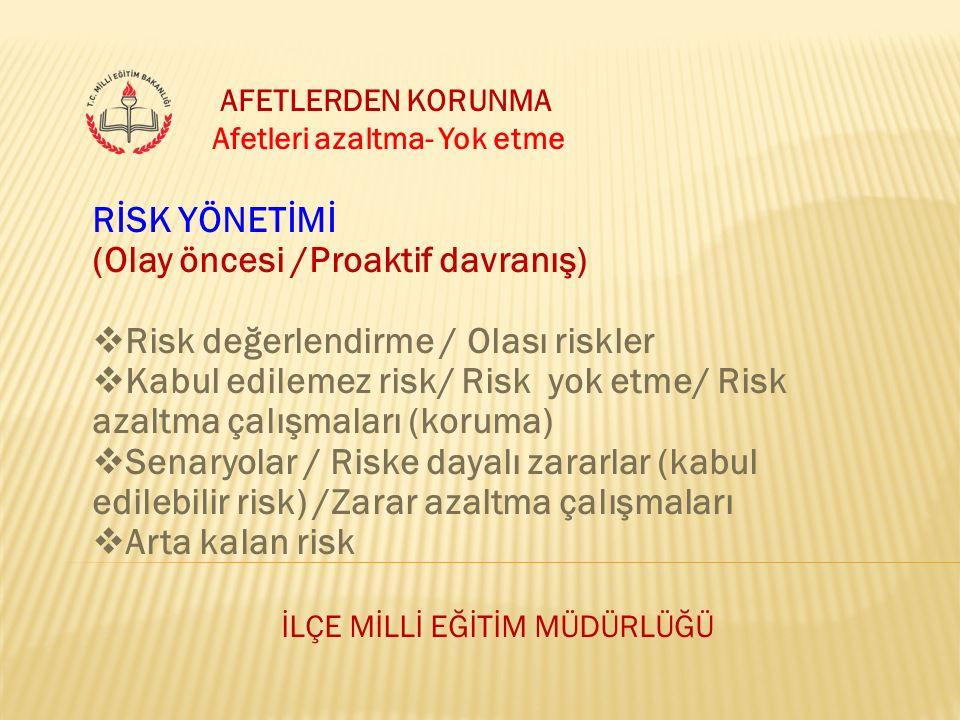 İLÇE MİLLİ EĞİTİM MÜDÜRLÜĞÜ AFETLERDEN KORUNMA Afetleri azaltma- Yok etme RİSK YÖNETİMİ (Olay öncesi /Proaktif davranış)  Risk değerlendirme / Olası