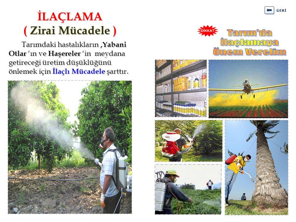 Tarımdaki hastalıkların,Yabani Otlar 'ın ve Haşereler 'in meydana getireceği üretim düşüklüğünü önlemek için İlaçlı Mücadele şarttır. Tarımdaki hastal