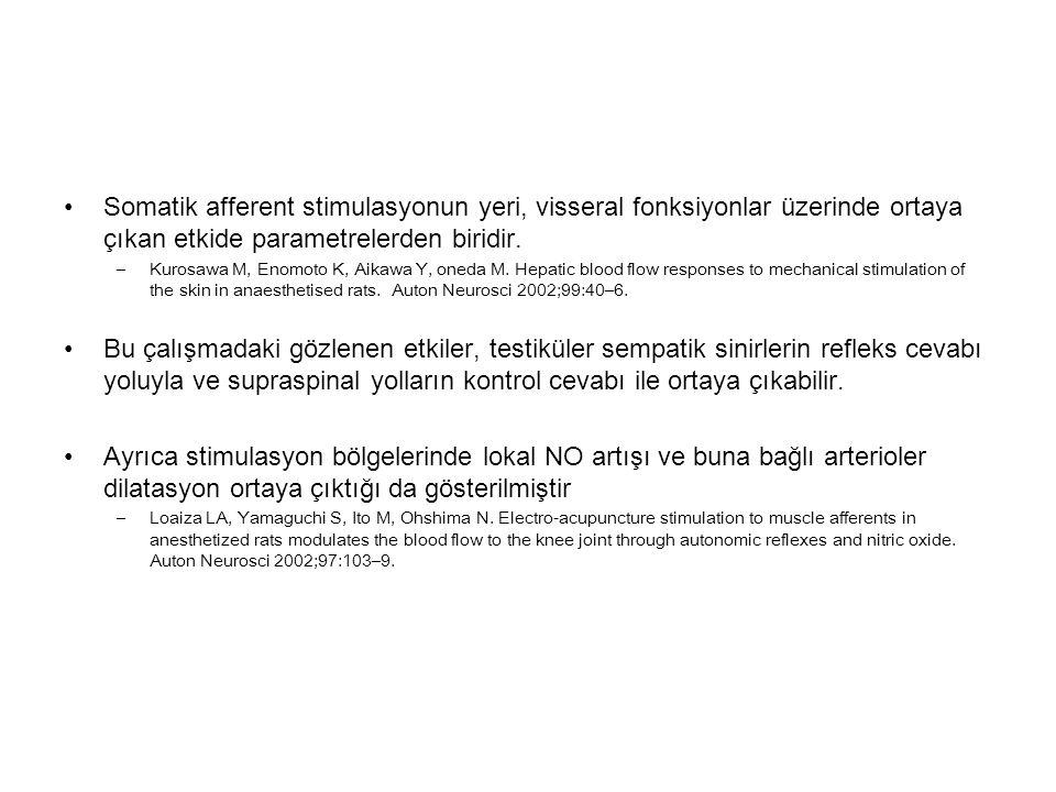 Somatik afferent stimulasyonun yeri, visseral fonksiyonlar üzerinde ortaya çıkan etkide parametrelerden biridir.