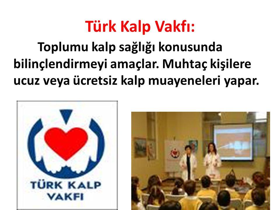 Türk Kalp Vakfı: Toplumu kalp sağlığı konusunda bilinçlendirmeyi amaçlar.