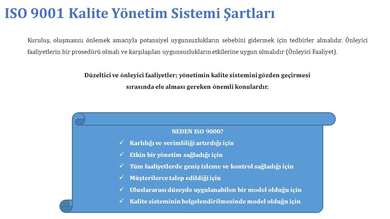 ISO 9001 Kalite Yönetim Sistemi Şartları Kuruluş, oluşmasını önlemek amacıyla potansiyel uygunsuzlukların sebebini gidermek için tedbirler almalıdır.