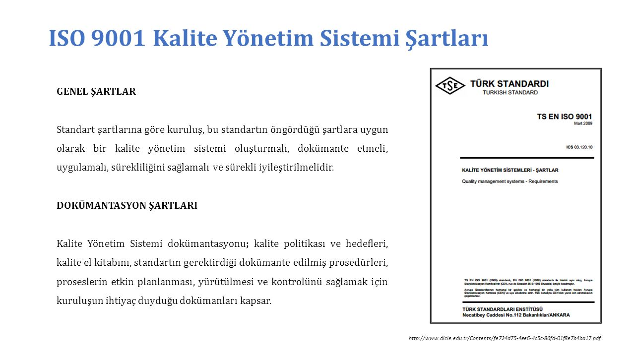 ISO 9001 Kalite Yönetim Sistemi Şartları TS-EN-ISO 9001:2000 Standart Maddeleri 1.Kapsam 2.Atıf Yapılan Standartlar 3.Terimler Ve Tarifler 4.Kalite Yönetim Sistemi 4.1 Genel Şartlar 4.2 Dokümantasyon Şartları 5.Yönetim Sorumluluğu 5.1 Yönetimin Taahhüdü 5.2 Müşteri Odaklılık 5.3 Kalite Politikası 5.4 Planlama 5.5 Sorumluluk, Yetki Ve İletişim 5.6 Yönetimin Gözden Geçirmesi