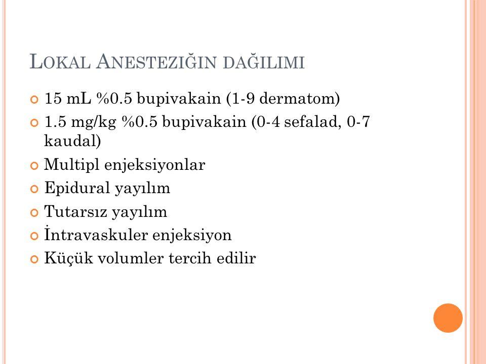 L OKAL A NESTEZIĞIN DAĞILIMI 15 mL %0.5 bupivakain (1-9 dermatom) 1.5 mg/kg %0.5 bupivakain (0-4 sefalad, 0-7 kaudal) Multipl enjeksiyonlar Epidural yayılım Tutarsız yayılım İntravaskuler enjeksiyon Küçük volumler tercih edilir
