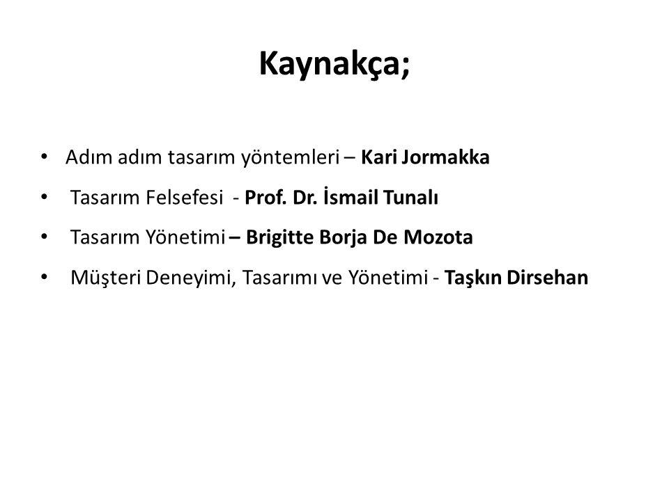 Kaynakça; Adım adım tasarım yöntemleri – Kari Jormakka Tasarım Felsefesi - Prof.