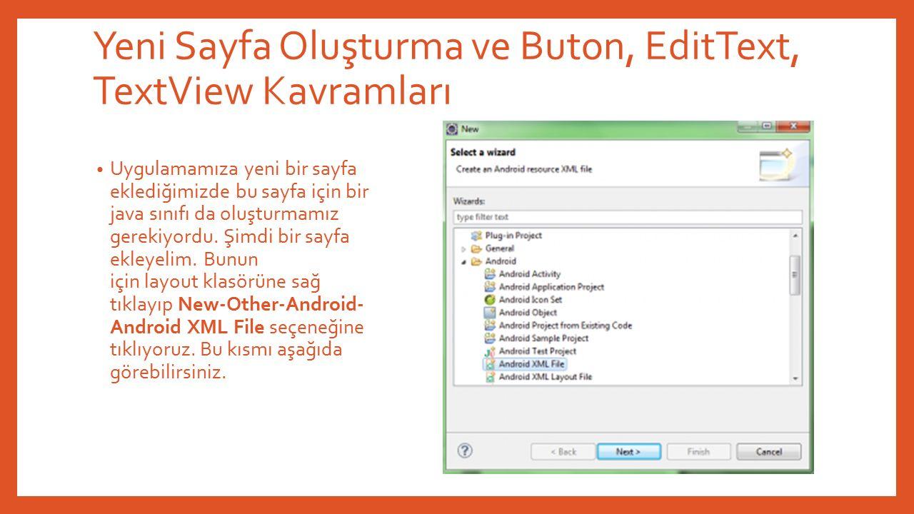Yeni Sayfa Oluşturma ve Buton, EditText, TextView Kavramları Uygulamamıza yeni bir sayfa eklediğimizde bu sayfa için bir java sınıfı da oluşturmamız gerekiyordu.
