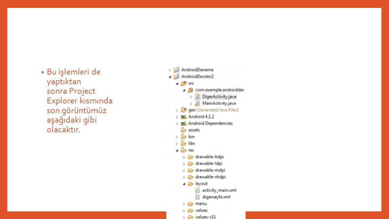 Bu işlemleri de yaptıktan sonra Project Explorer kısmında son görüntümüz aşağıdaki gibi olacaktır.